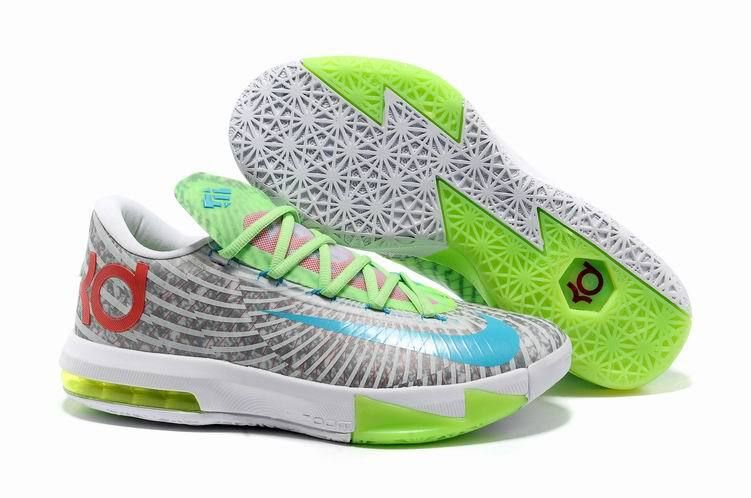 Nike Zoom KD 6 White Grey Green Red Blue Shoes for sale. The cool colorway  kd 6 shoes will be your best choice.