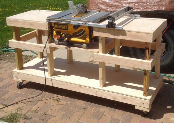 Diy Table Saw Stand On Casters The Wolven House Project Table Saw Workbench Diy Table Saw Woodworking Bench Plans
