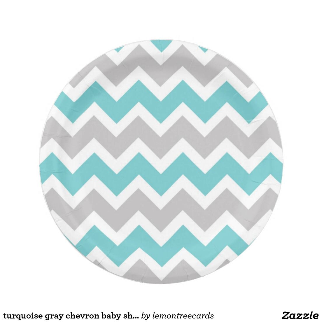 Turquoise gray chevron baby shower bridal party paper plate  sc 1 st  Pinterest & Turquoise gray chevron baby shower bridal party paper plate ...