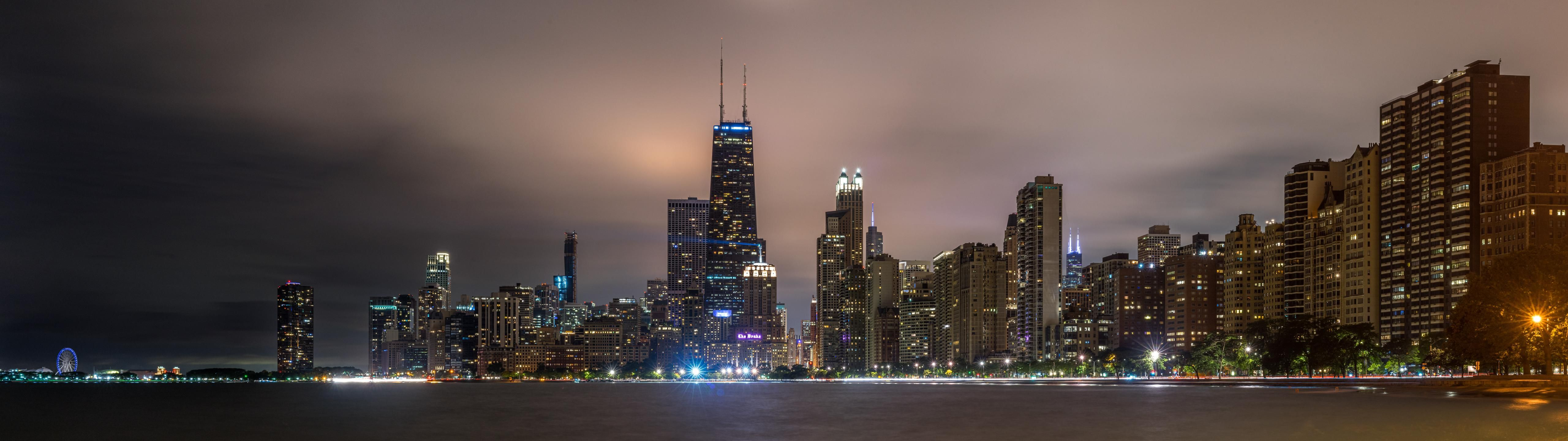 Chicago Skyline for Dual Monitors wallpaper (With images