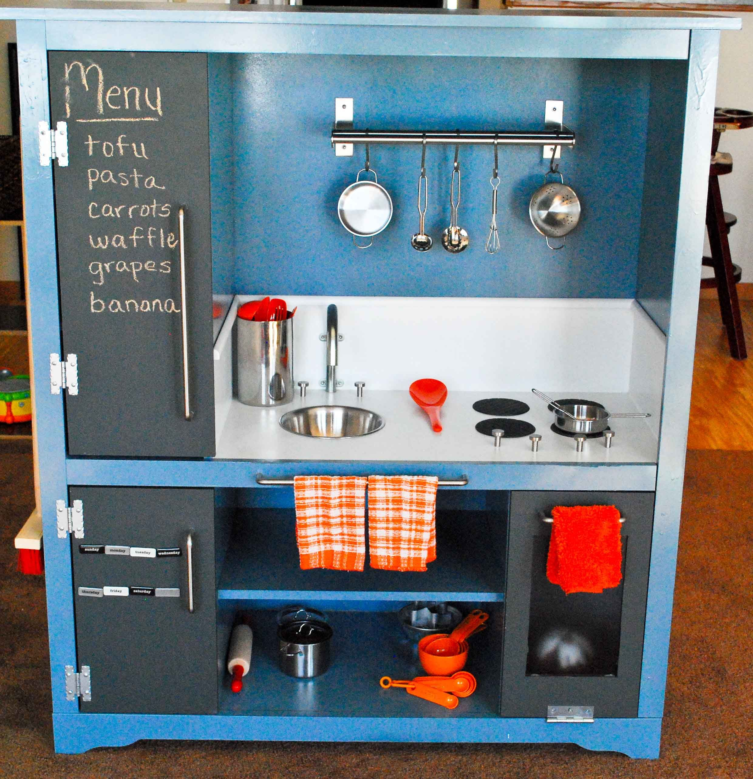 An adorable gender neutral kitchen set made from used or cheap ...
