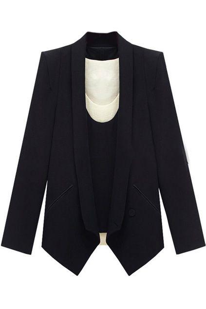 #Romwe  One Button Pocket Black Blazer