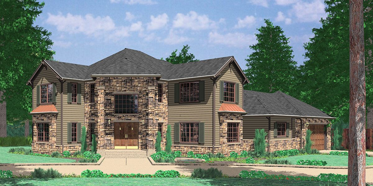 corner lot house plans. House Front Color Elevation View For 10029 Grand Entrance Corner Lot Plan, Master On Plans