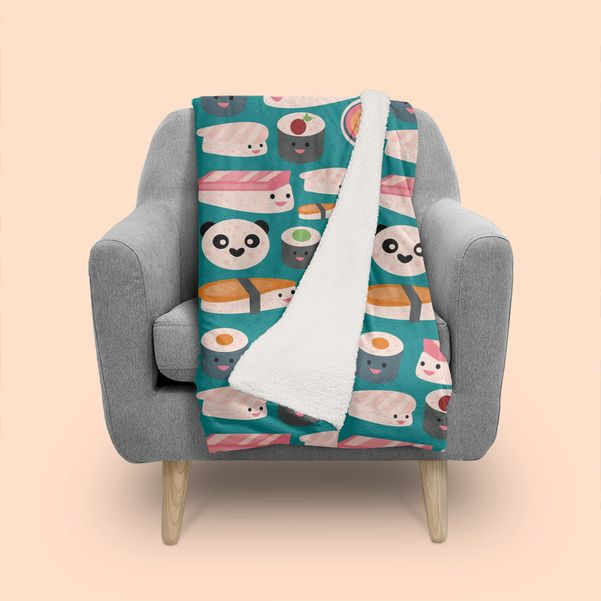 Pin By Grace Allen On Sushi Pinterest Kawaii Teal And Blanket Custom Kawaii Throw Blanket
