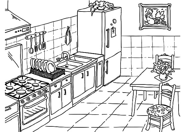 Drawing Kitchen Coloring Pages Download Print Online Coloring Pages For Free Color Nimbu Kitchen Drawing Kitchen Design Software Interior Design Software