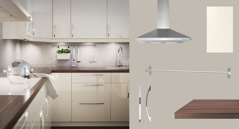 captivating beige gloss kitchen | AKURUM kitchen with ABSTRAKT yellow-white high-gloss doors ...