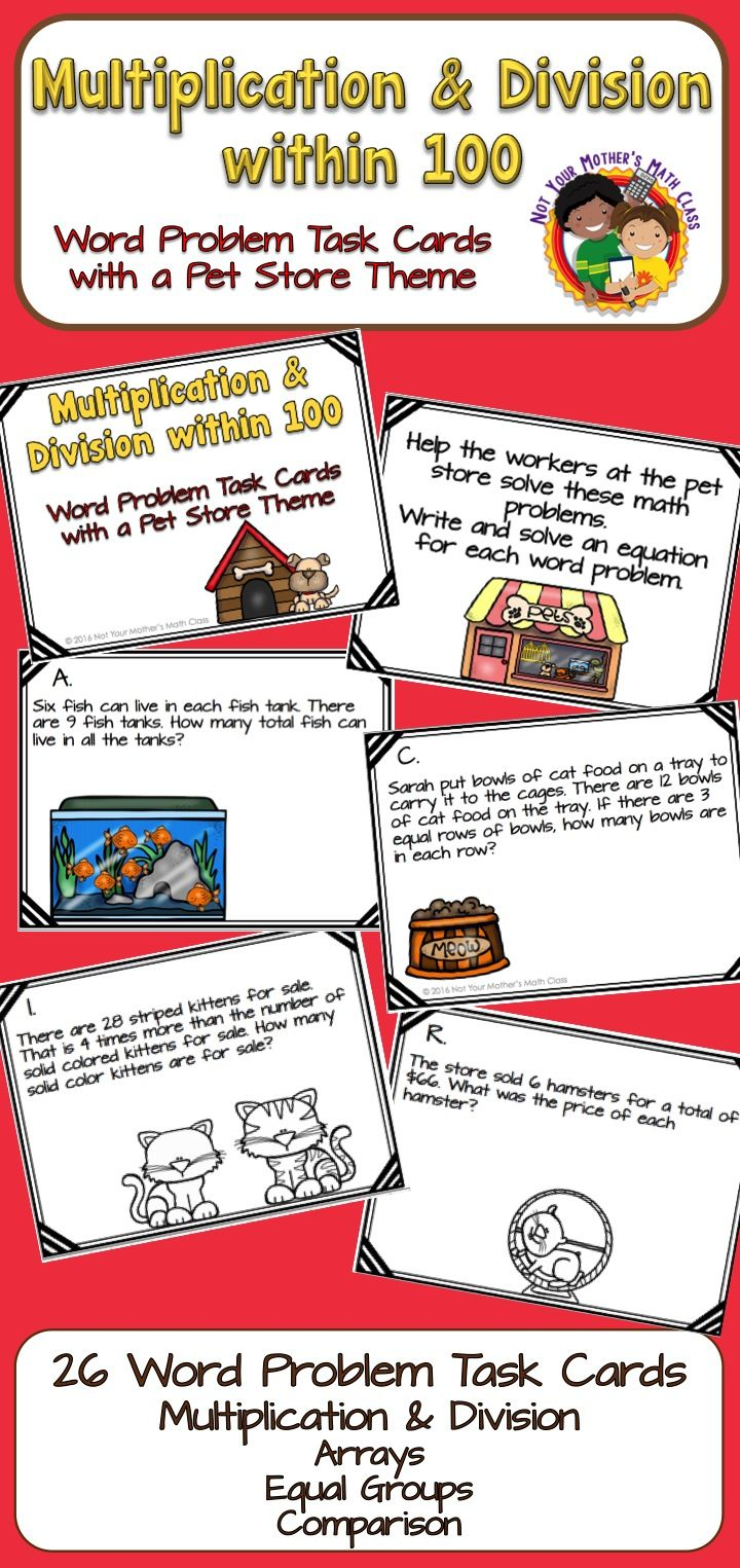 Multiplication and Division Word Problems within 100 - Task Cards