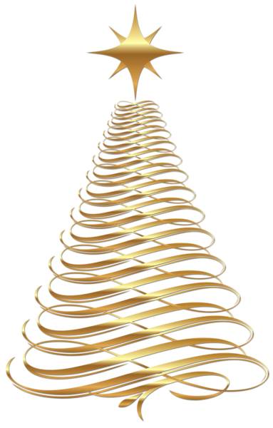 Modern Transparent Large Transparent Christmas Gold Tree Clipart | Clip Art