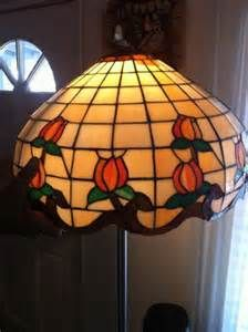 Antique huge Leaded Stained Glass Lamp Shade Hanging Dome Floral Lamps ...