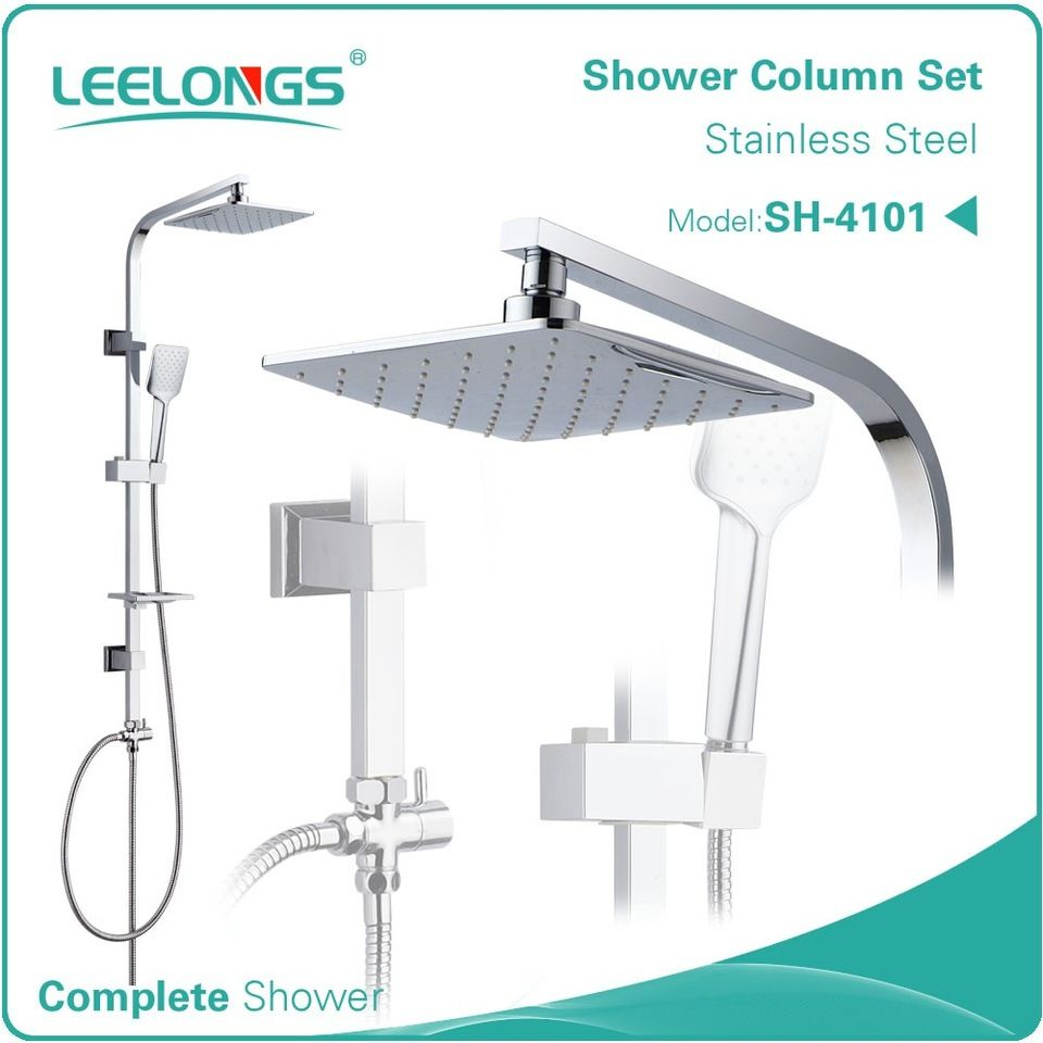 With Portable Shower Head And Hose Sliding Rail Stainless Steel