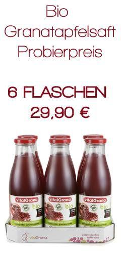 Jetzt im Angebot! 6 Flaschen Granatapfelsaft Bio 29,90