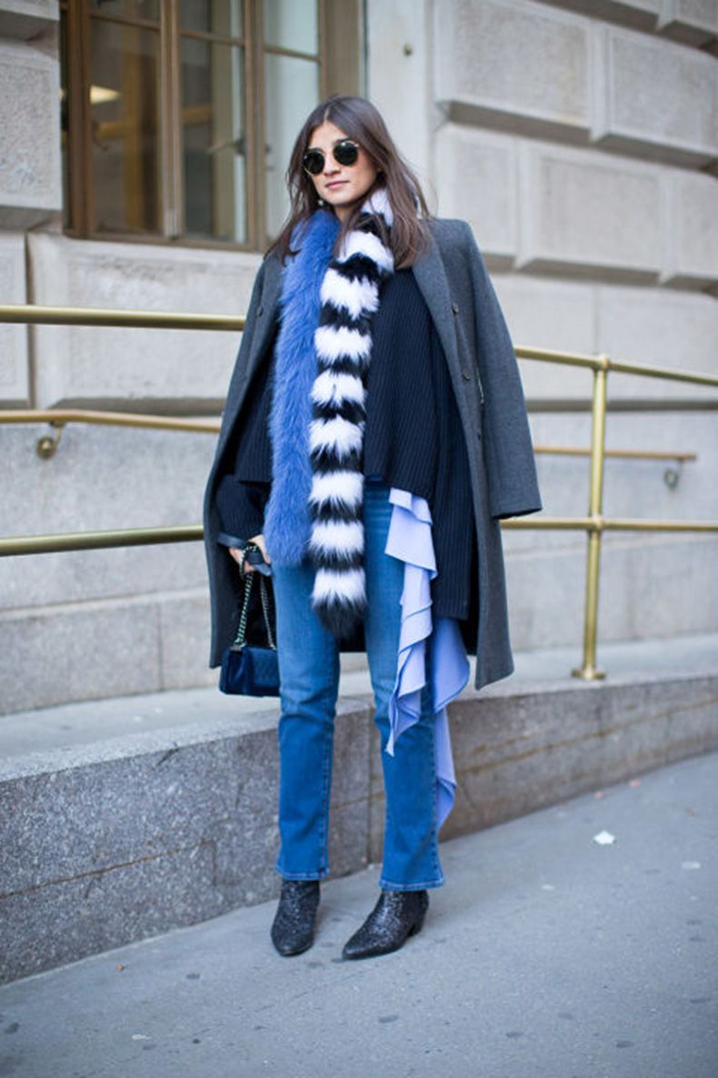 ruffles-high-waisted-mo-mjeans-boots-fur-scarf-colored-fur-layers-layering-grey-coat-jacket-on-shoulders-winter-outfits-what-to-wear-when-its-freezing-nyfw-2016-street-style-hbz