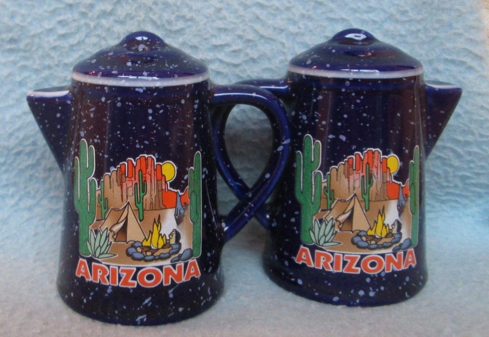 Vintage Camping Arizona Pot Souvenir Salt & Pepper Shakers