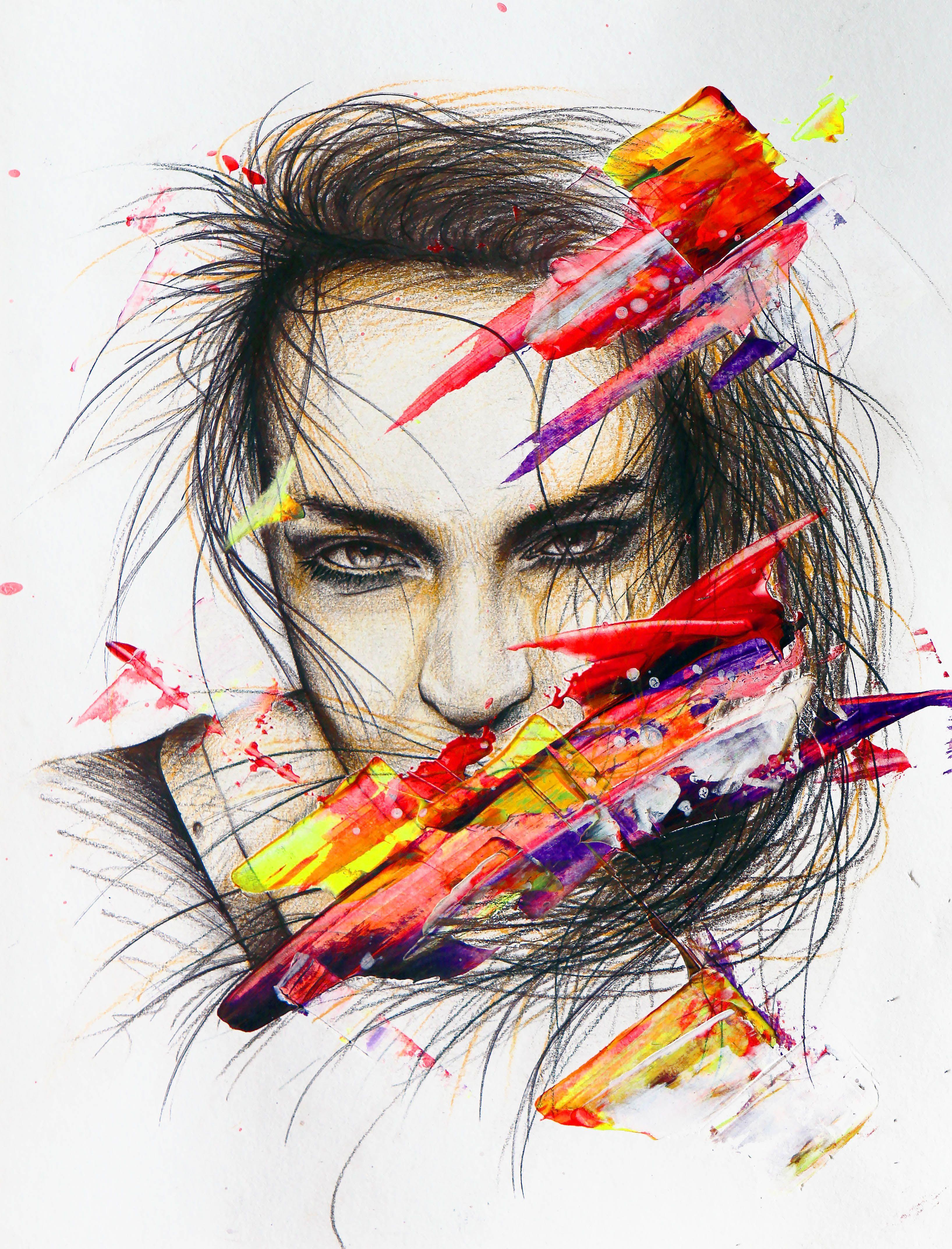 "Brutalié / Collection ""Apparences"" / 24 x 32 cm / Modèle : #sabinefischer / #portrait #art #sketch #fredml #ink #dark #flash #ink #acrilyque #fluo #trash #yellow #red #black #purple #brown"