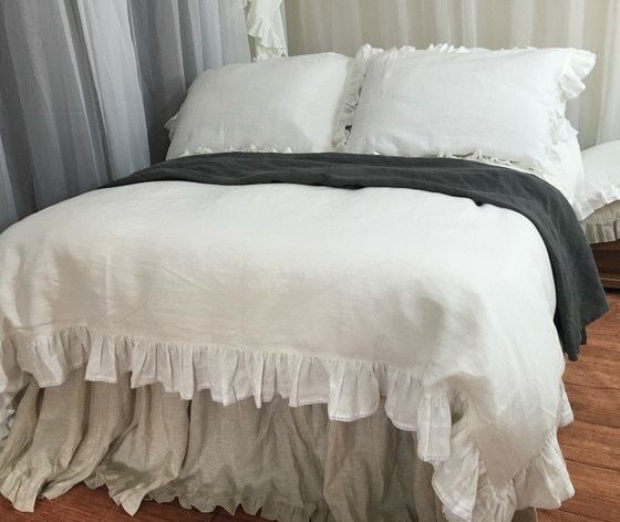 Soft white Ruffle Linen Duvet Cover with Lace | Luxury ...