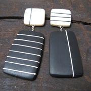 Handmade by Scottish Jewelry designer Kaz Robertson, black resin rectangle earrings, £98.     Source: lovedazzle.com    20130103 19:41