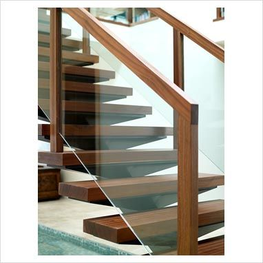 Wood Stair Details On Gap Interiors Detail Of Modern Wooden And Glass Staircase Picture Glass Staircase Glass Stairs Glass Railing Stairs