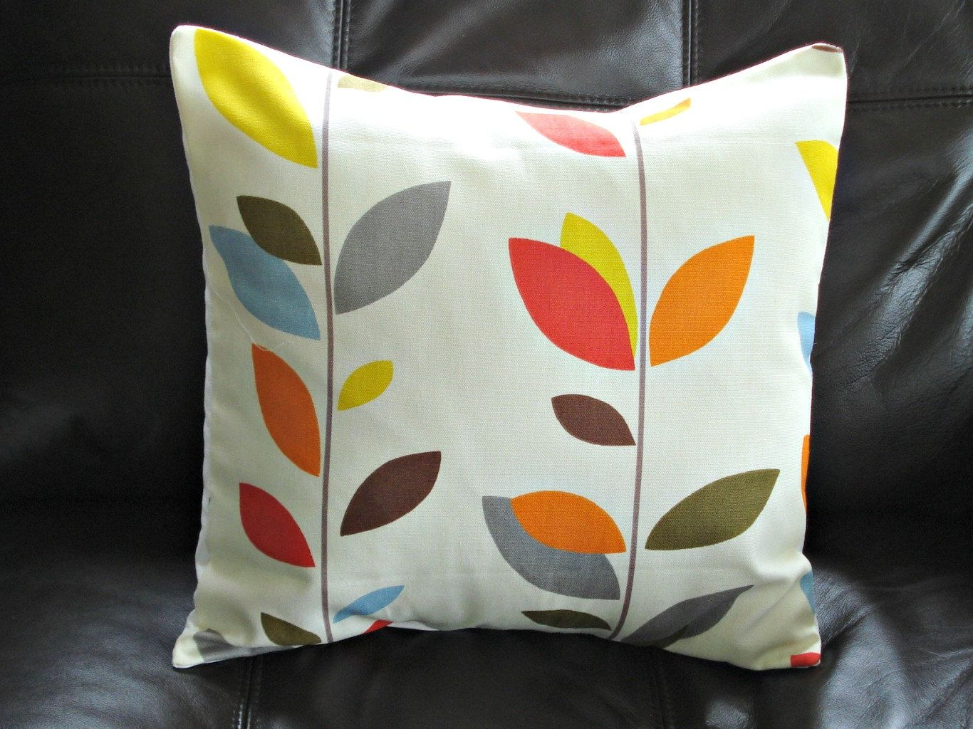 Decorative pillows with blue brown and yellow - Pillow Orange Blue Olive Red Yellow Grey Gray Brown 16 Inch Leaf Design Cushion Shams Fabric