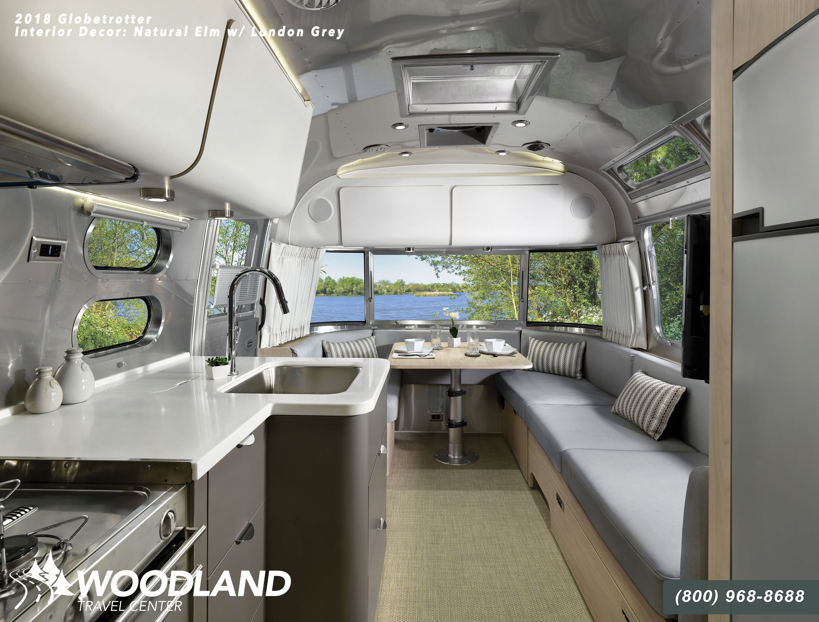 See Inside The Newest Airstream Travel Trailer Model The New 2018 Airstream Globetrotter Woodland Tra Airstream Interior Luxury Accommodation Luxury Camping