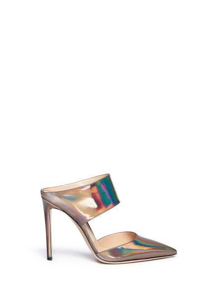 90cfa4ea0cce61 Gianvito Rossi Hologram Leather Stiletto Mules in Gold (Metallic ...