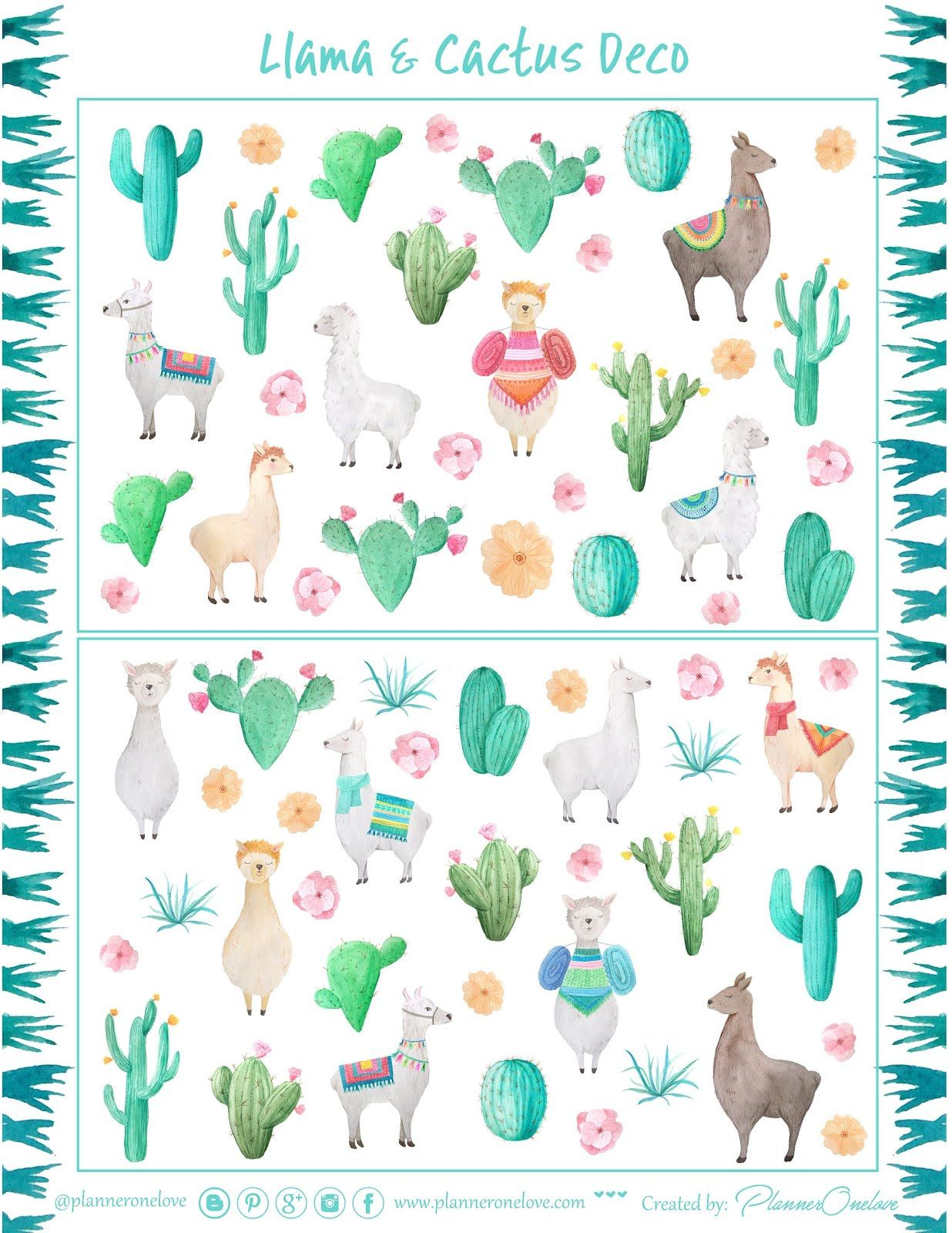 image relating to Llama Printable called Absolutely free Printable Llama Cactus Reward Deco Sheet versus Planner