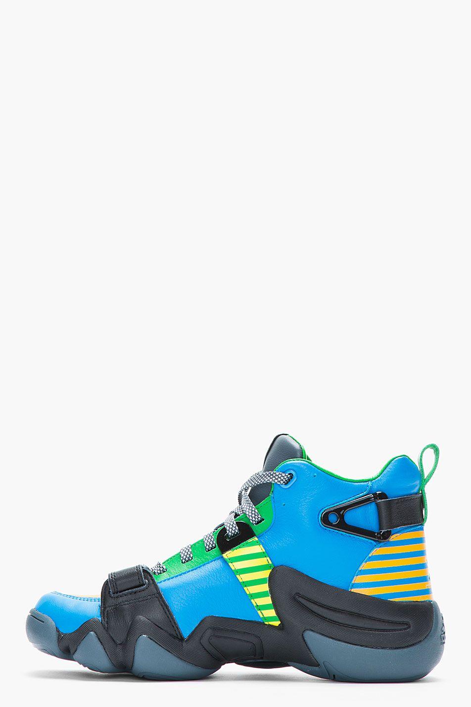 984d36574c3 ADIDAS ORIGINALS BY O.C. azul and and azul green leather Crazy 8 Tennis  sapatos 0c4550