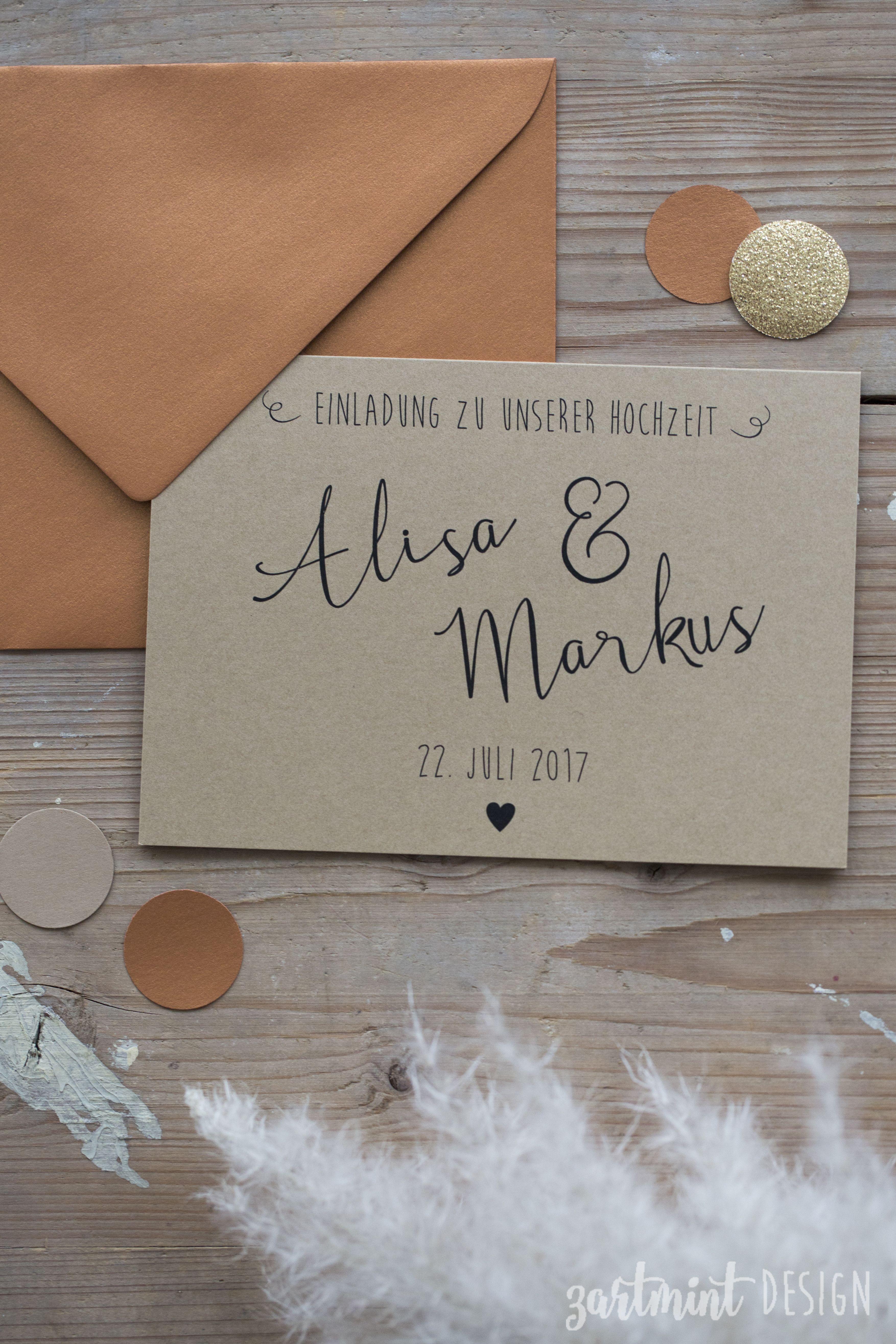 Hochzeitspapeterie | Hochzeitseinladung Kraftpapier U0026 Kupfer ♥ Copper,  Naturapapier, Kupferkonfetti, Vintage, Hippie, Boho, Zartmint Design, Bonn,  Köln, ...