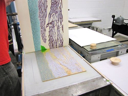 print being pulled from the second block