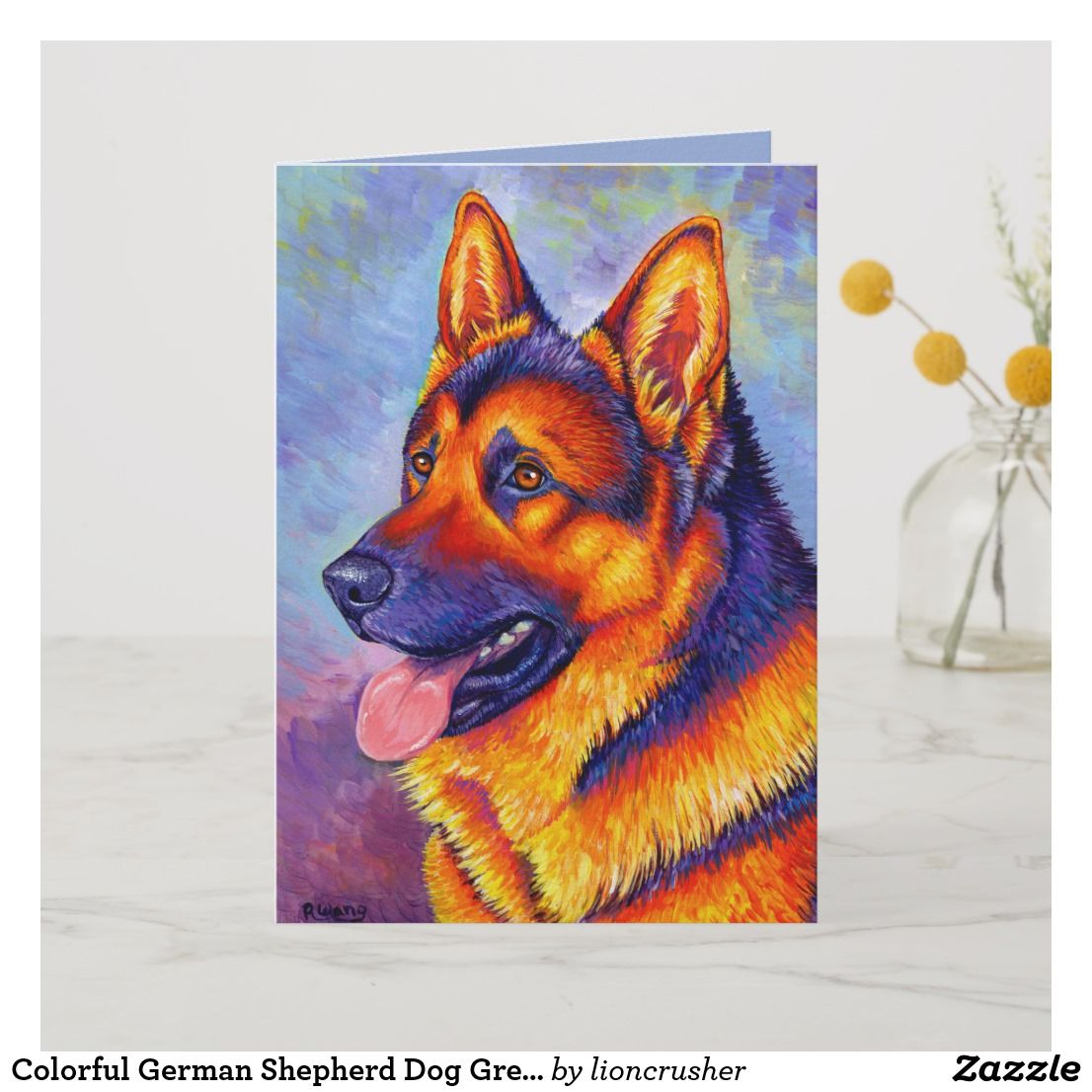 Colorful German Shepherd Dog Greeting Card Stationery Office