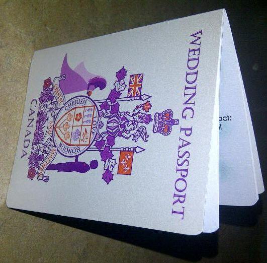 Orange & Purple Canadian Passport Wedding Invites And