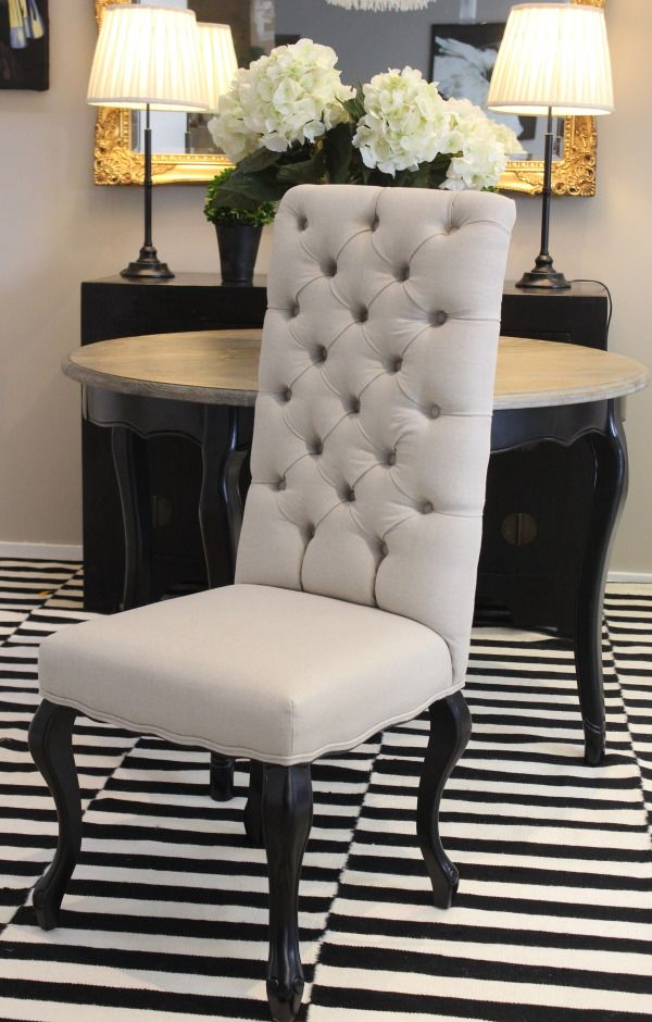 Beautiful High Back Vermont Dining Chair Deeply Tufted In