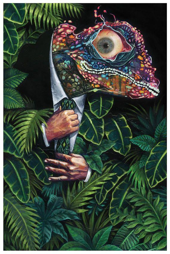 Chameleon art print Surreal painting Lizard man