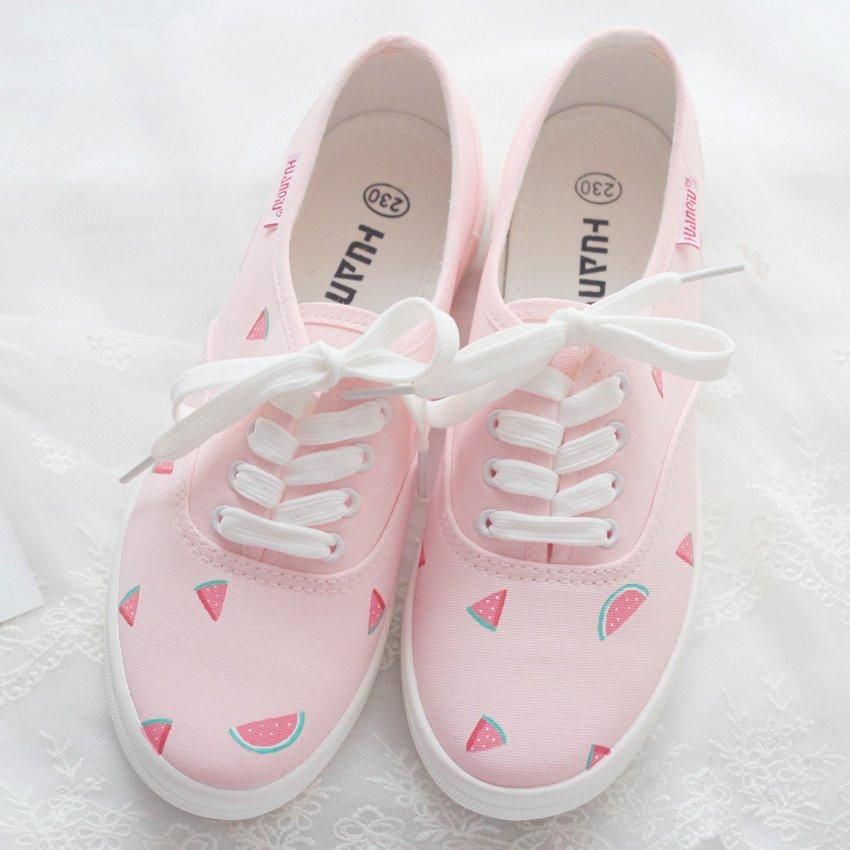 Japanese Cute Watermelon Pink Canvas Shoes Sd02492 Footwear