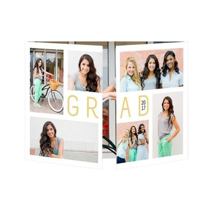 proudly initialed gate fold graduation announcements in white or