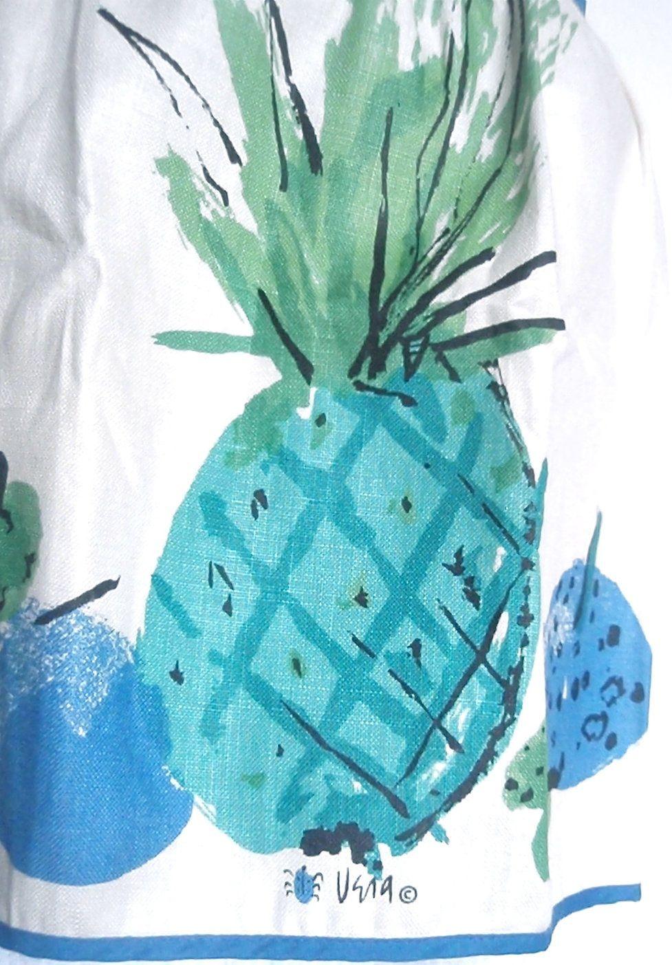 turquoise pinapple [Vera Neumann linen apron]