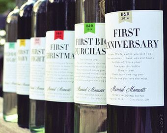 Wedding Milestone Wine Labels First Married by LabelWithLove ...