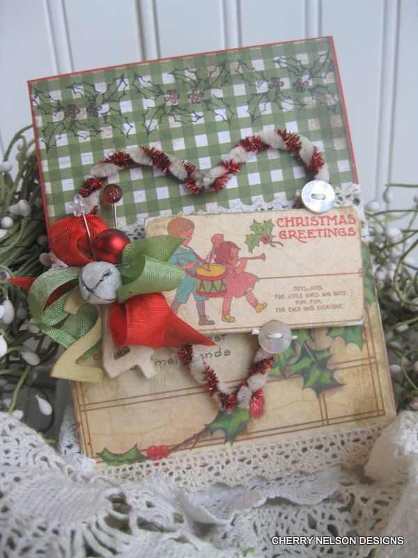vintage christmas from yesteryear CANDY CANE HEART children christmas greeting handmade card. $8.75, via Etsy.