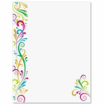 Colorful swirls by ideaart BORDERS- Stationary Colorful \ Fun - design paper for writing