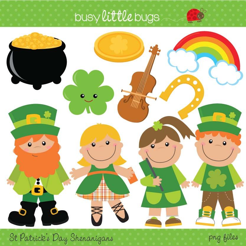 St Patrick S Day Super Cute Clipart Great For Your Classroom Or Project This St Patrick S Day Includes Bla St Patricks Day Clipart St Patricks Day St Patrick