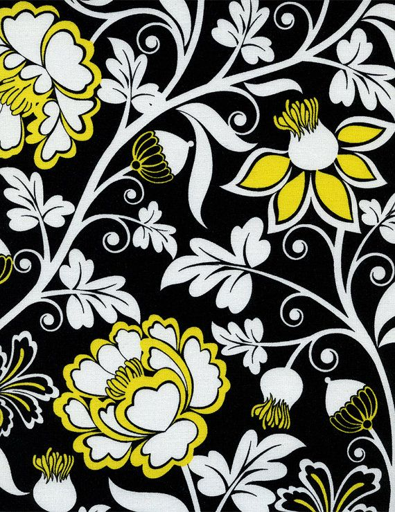 Black White and Yellow Floral Fabric - Timeless Treasures - taxi ...