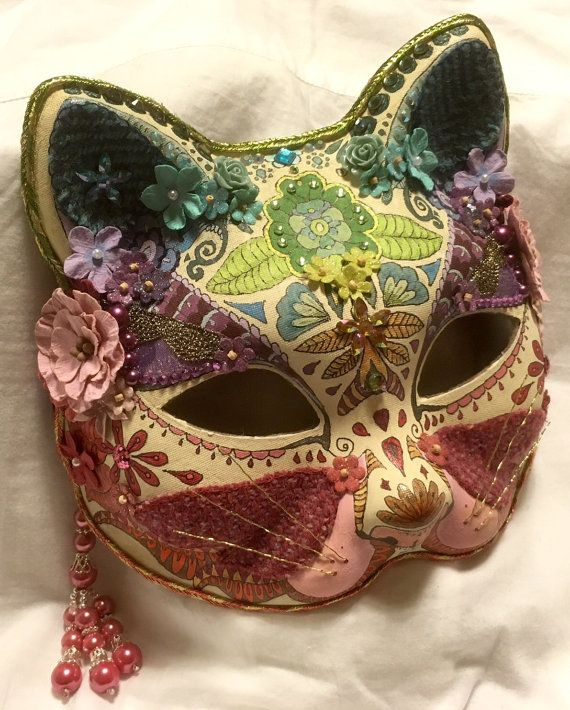 95722662f741b Pretty kitty jewelled cat masquerade mask - hand painted and embellished, a  'one of a kind' piece.
