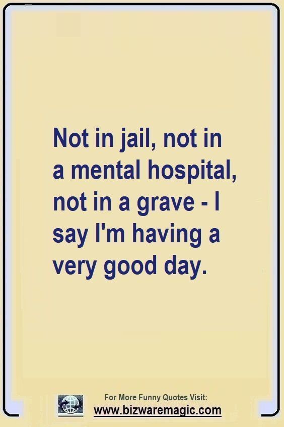 Not in jail, not in a mental hospital, not in a grave - I say I'm having a very good day. Click The Pin For More Funny Quotes. Share the Cheer - Please Re-Pin. #funny #funnyquotes #quotes #quotestoliveby #dailyquote #wittyquotes #oneliner #joke data-pin-url=