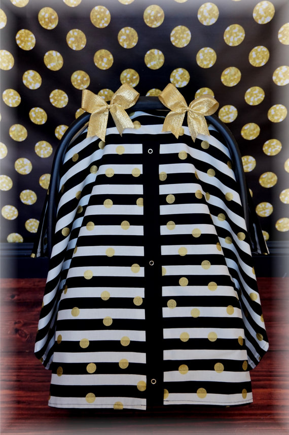 Black GOLD And White Stripe Polka Dot Baby Carseat Canopy