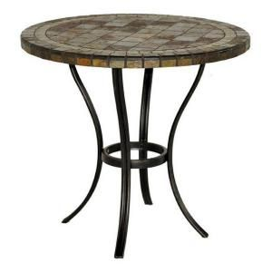 Hampton Bay 30 In. Round Slate Patio Bistro Table