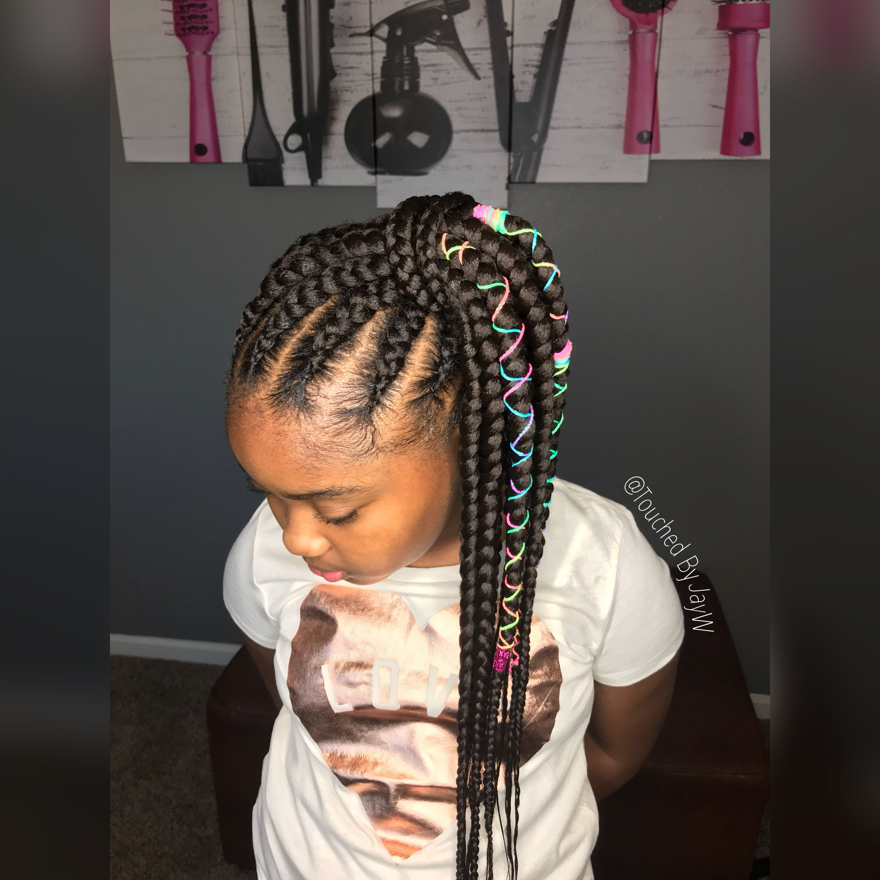 Kids Feeder Braid Ponytail @touchedbyjayw | Braids for ...