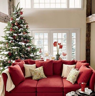 White Accents On The Red Couch And The Tree Red Couch Living Room Red Sofa Living Room Living Room Red