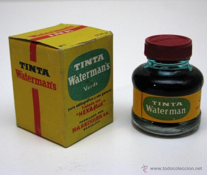 Antiguo tintero para estilográficas de la casa WATERMAN'S. Verde.