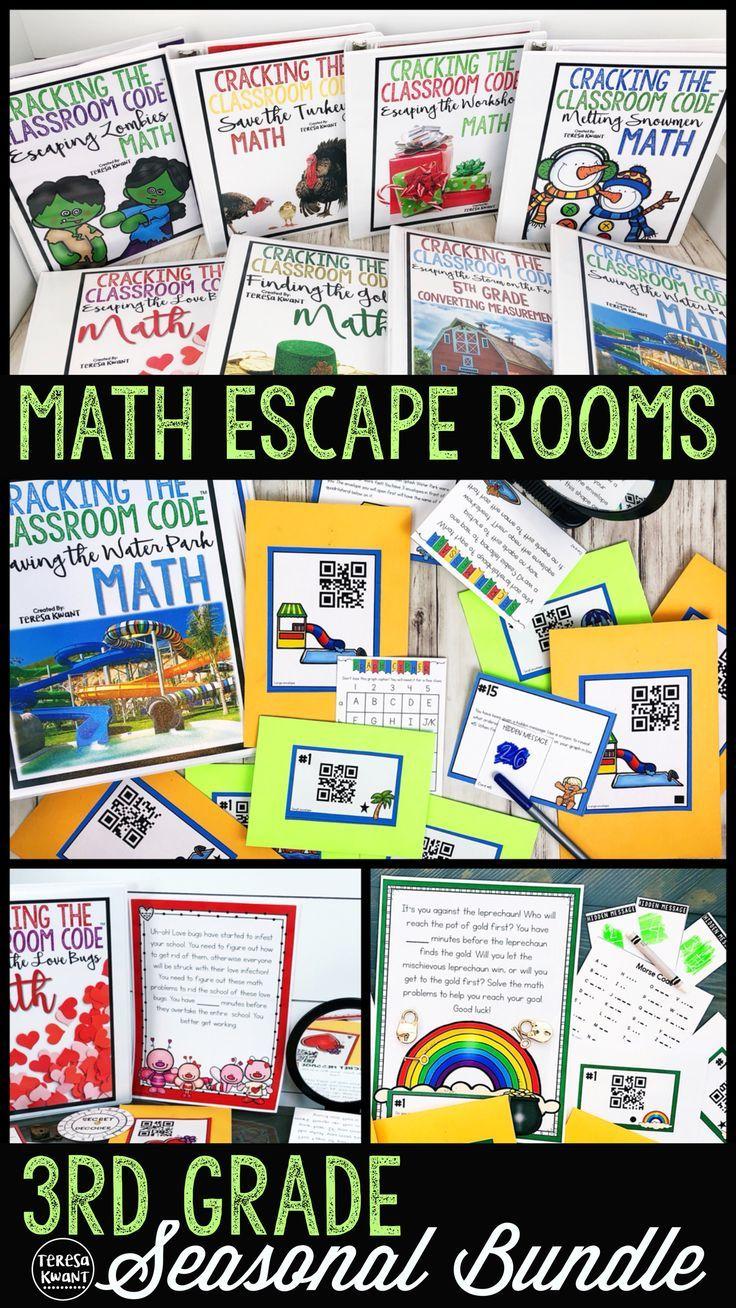 Escape Room 3rd Grade Math Seasonal Bundle Cracking the