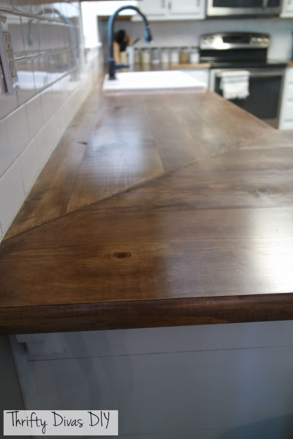 Diy Wide Planked Butcher Block Countertops Diy Butcher Block