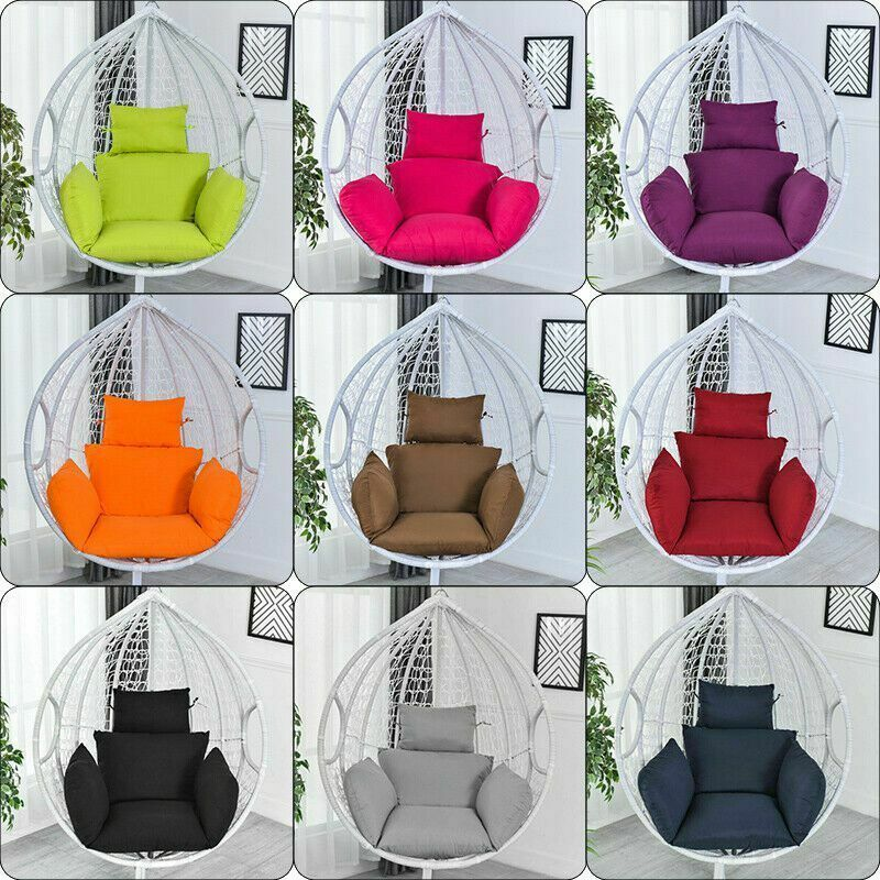 Swing Hanging Egg Rattan Chair Outdoor Garden Patio Hammock Stand Porch Cushions In 2020 Wicker Swing Chair Cushions Patio Hammock